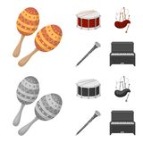 Maracas,鼓,苏格兰风笛,单簧管 乐器设置了在动画片,单色样式传染媒介的汇集象 库存图片