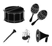 Maracas, τύμπανο, σκωτσέζικα bagpipes, κλαρινέτο Τα μουσικά όργανα καθορισμένα τα εικονίδια συλλογής στο μαύρο απόθεμα συμβόλων ύ διανυσματική απεικόνιση