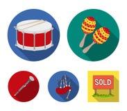 Maracas, τύμπανο, σκωτσέζικα bagpipes, κλαρινέτο Τα μουσικά όργανα καθορισμένα τα εικονίδια συλλογής στο επίπεδο απόθεμα συμβόλων ελεύθερη απεικόνιση δικαιώματος