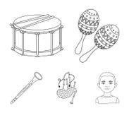 Maracas, τύμπανο, σκωτσέζικα bagpipes, κλαρινέτο Τα μουσικά όργανα καθορισμένα τα εικονίδια συλλογής στο διανυσματικό σύμβολο ύφο ελεύθερη απεικόνιση δικαιώματος