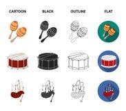 Maracas, τύμπανο, σκωτσέζικα bagpipes, κλαρινέτο Τα μουσικά όργανα καθορισμένα τα εικονίδια συλλογής στα κινούμενα σχέδια, ο Μαύρ ελεύθερη απεικόνιση δικαιώματος