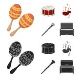 Maracas, τύμπανο, σκωτσέζικα bagpipes, κλαρινέτο Τα μουσικά όργανα καθορισμένα τα εικονίδια συλλογής στα κινούμενα σχέδια, μαύρο  ελεύθερη απεικόνιση δικαιώματος