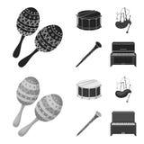 Maracas, τύμπανο, σκωτσέζικα bagpipes, κλαρινέτο Τα μουσικά όργανα καθορισμένα τα εικονίδια συλλογής στο Μαύρο, monochrom διάνυσμ απεικόνιση αποθεμάτων
