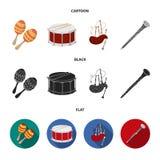 Maracas, τύμπανο, σκωτσέζικα bagpipes, κλαρινέτο Τα μουσικά όργανα καθορισμένα τα εικονίδια συλλογής στα κινούμενα σχέδια, μαύρο, απεικόνιση αποθεμάτων