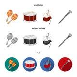 Maracas, τύμπανο, σκωτσέζικα bagpipes, κλαρινέτο Τα μουσικά όργανα καθορισμένα τα εικονίδια συλλογής στα κινούμενα σχέδια, επίπεδ απεικόνιση αποθεμάτων
