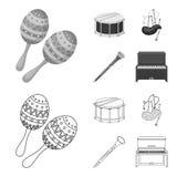 Maracas, τύμπανο, σκωτσέζικα bagpipes, κλαρινέτο Τα μουσικά όργανα καθορισμένα τα εικονίδια συλλογής στην περίληψη, μονοχρωματικό διανυσματική απεικόνιση
