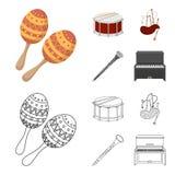 Maracas, τύμπανο, σκωτσέζικα bagpipes, κλαρινέτο Τα μουσικά όργανα καθορισμένα τα εικονίδια συλλογής στα κινούμενα σχέδια, περιγρ ελεύθερη απεικόνιση δικαιώματος