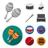 Maracas, τύμπανο, σκωτσέζικα bagpipes, κλαρινέτο Τα μουσικά όργανα καθορισμένα τα εικονίδια συλλογής στο μονοχρωματικό, επίπεδο δ διανυσματική απεικόνιση