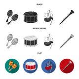 Maracas, τύμπανο, σκωτσέζικα bagpipes, κλαρινέτο Τα μουσικά όργανα καθορισμένα τα εικονίδια συλλογής στο μαύρο, επίπεδο, μονοχρωμ διανυσματική απεικόνιση