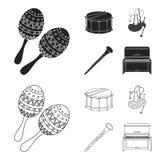 Maracas, τύμπανο, σκωτσέζικα bagpipes, κλαρινέτο Τα μουσικά όργανα καθορισμένα τα εικονίδια συλλογής στο Μαύρο, περιγράφουν το δι απεικόνιση αποθεμάτων