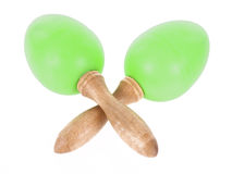 Maracas. Crossed maracas on pure white background Royalty Free Stock Photos