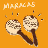 Maracas vector. Illustration of maracas instrument retro style + vector eps file Royalty Free Stock Photo