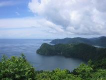 Maracas bay. On the top of the North Cost Road in Trinidad looking at the Maracas Bay stock photo