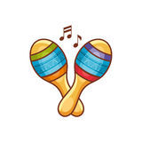 Maracas. Children`s toys. Cartoon style. Monochrome. Template for coloring book Stock Photo