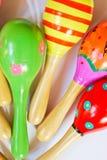 Maracas de madera coloridos del juguete Imagen de archivo