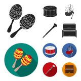 Maracas, drum, Scottish bagpipes, clarinet. Musical instruments set collection icons in black, flat style vector symbol. Stock illustration Royalty Free Stock Photos