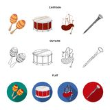 Maracas, drum, Scottish bagpipes, clarinet. Musical instruments set collection icons in cartoon,outline,flat style. Vector symbol stock illustration royalty free illustration