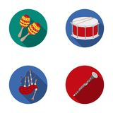 Maracas, drum, Scottish bagpipes, clarinet. Musical instruments set collection icons in flat style vector symbol stock Stock Image