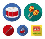 Maracas, drum, Scottish bagpipes, clarinet. Musical instruments set collection icons in flat style vector symbol stock. Illustration Stock Photos