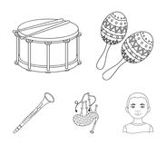 Maracas, drum, Scottish bagpipes, clarinet. Musical instruments set collection icons in outline style vector symbol. Stock illustration Stock Photos