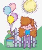 Maracas för Beuaty flickalek med ballonger och växten royaltyfri illustrationer