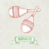 Maracas hand-tekening Stock Afbeelding