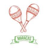 Maracas hand-tekening Royalty-vrije Stock Fotografie
