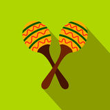 Maracas icon, flat style Royalty Free Stock Photo