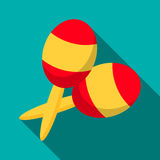 Maracas icon, flat style. Maracas icon in flat style with long shadow. Musical instrument symbol Stock Photography