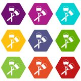 Maracas icon set color hexahedron Royalty Free Stock Images
