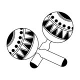 Maracas latin instrument isolated in black and white. Maracas latin instrument cartoon isolated vector illustration graphic design royalty free illustration