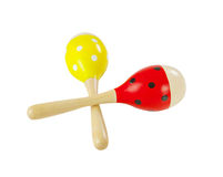 Maracas music percussion. Colorful wooden maracas music percussion instrument isolated on white background royalty free stock images
