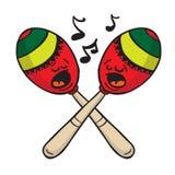 Maracas singing. Cartoon illustration isolated on white Stock Image