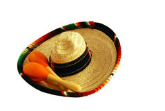 Maracas and sombrero Royalty Free Stock Images