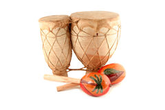 Maracas y tambor Fotografía de archivo libre de regalías