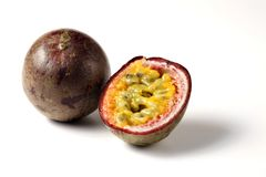 Maracuja passion fruit. A whole and a half passion fruit stock photography