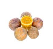 Maracuja und Maracujafruchtsaft Lizenzfreies Stockfoto