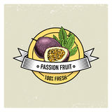 Maracuya or Passion fruit Vintage, hand drawn fresh fruits background, summer plants, vegetarian and organic citrus and Royalty Free Stock Images