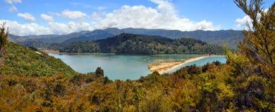 Marahau lagun, Abel Tasman nationalpark som är nyazeeländsk Arkivbild