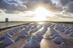 Marais de sel sur le coucher du soleil Photo stock