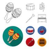 Marakasy, bęben, Szkockie kobze, klarnet Instrument muzyczny ustawiać inkasowe ikony w konturze, mieszkanie stylowy wektorowy sym ilustracji
