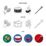 Marakasy, bęben, Szkockie kobze, klarnet Instrument muzyczny ustawiać inkasowe ikony w mieszkaniu, kontur, monochromu styl royalty ilustracja