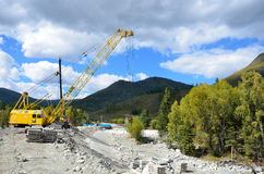 Maralnik, Altai Republic, Ust-Koksinsky district, Russia, September, 10, 2016. Nobody, the construction of the road to the village Stock Photo