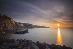 Marameo Beach in Sorrento during sunset. Marameo Beach in Sorrento, Italy during sunset Royalty Free Stock Photography
