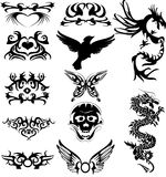 Maraming tattoo. Vector illustration of tribal tattoos and silhouette Stock Photography