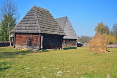 Maramures old houses. View of traditional maramures transylvania wooden old house Royalty Free Stock Image