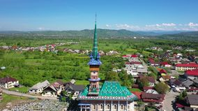 Maramures Romania Merry Cemetery. Shooting from the air. 4 stock video