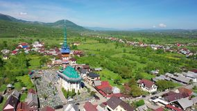 Maramures Romania Merry Cemetery. Shooting from the air. 4 stock footage