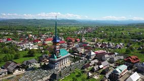 Maramures Romania Merry Cemetery. Shooting from the air stock video