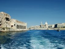 Maramxett Harbour. Grand Harbour and Valletta in background Royalty Free Stock Images